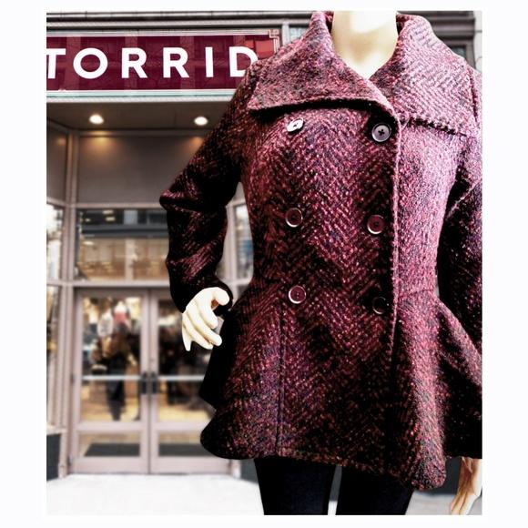 4a89c75f3ee Torrid Marled Wool Coat NWT Plus Size 2x